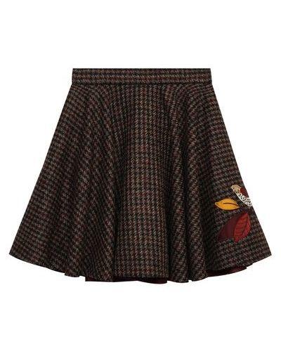 Коричневая шерстяная юбка с подкладкой Dolce & Gabbana