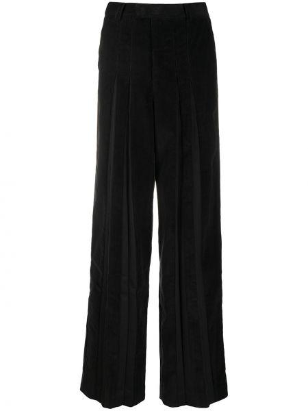 Черные плиссированные свободные брюки с поясом из вискозы Situationist