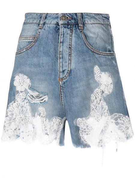 Кружевные хлопковые синие джинсовые шорты Ermanno Scervino