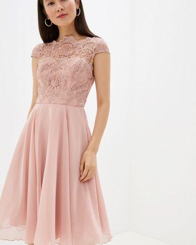 Вечернее платье розовое осеннее Chi Chi London
