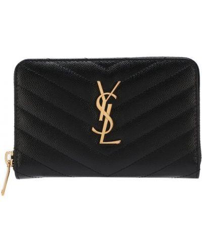 Кожаный кошелек на молнии с логотипом Saint Laurent