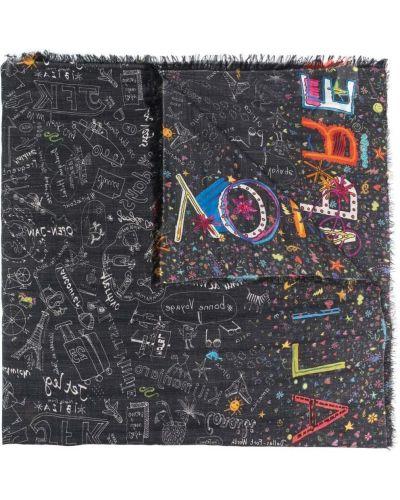 Z kaszmiru czarny szalik z printem Faliero Sarti
