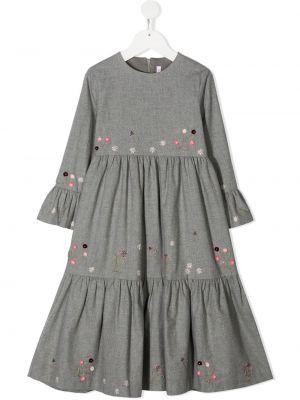 Серое платье макси для полных с вышивкой Il Gufo