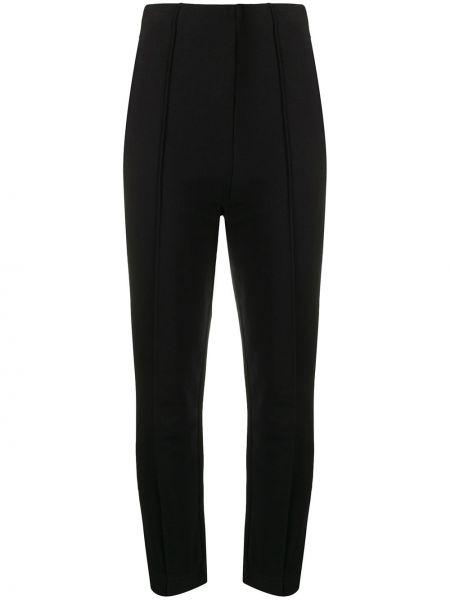 Хлопковые черные брюки с высокой посадкой с потайной застежкой Y-3