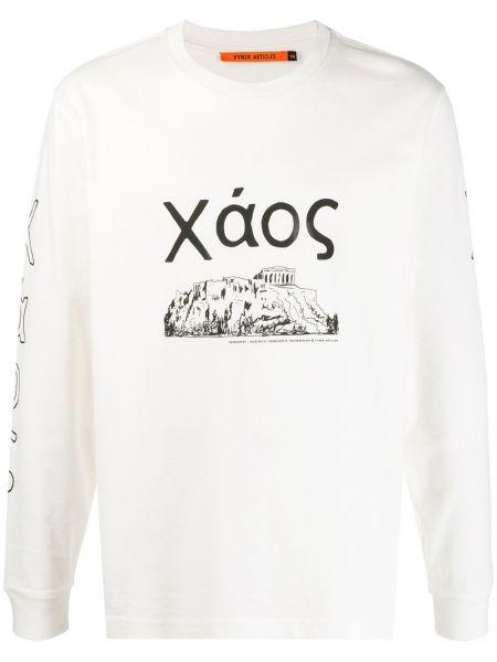 Прямая белая хлопковая футболка в рубчик Vyner Articles
