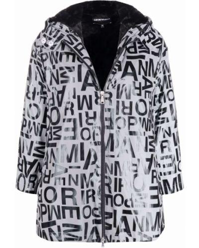 Biały płaszcz z printem Emporio Armani