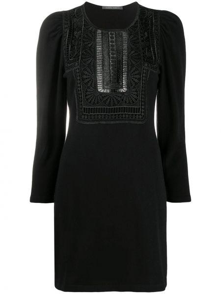 Черное ажурное платье макси с длинными рукавами круглое Alberta Ferretti