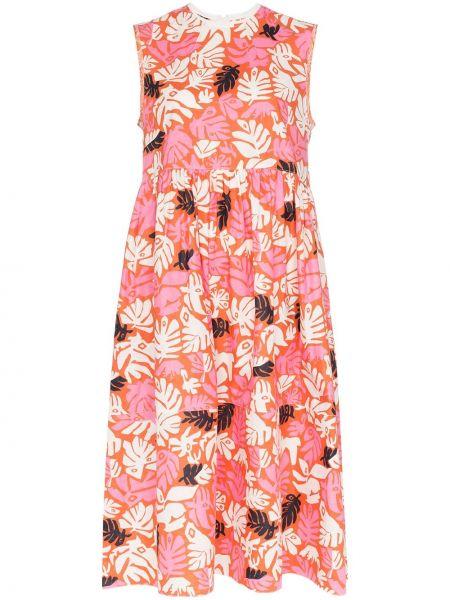 Платье миди с цветочным принтом с рукавами Marni