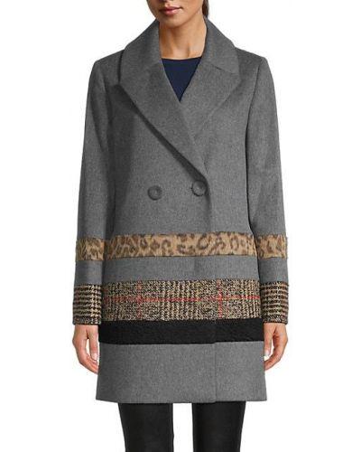 Шерстяное длинное пальто в клетку двубортное Cinzia Rocca