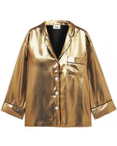 Пижамная рубашка золотая с карманами Sleepy Jones