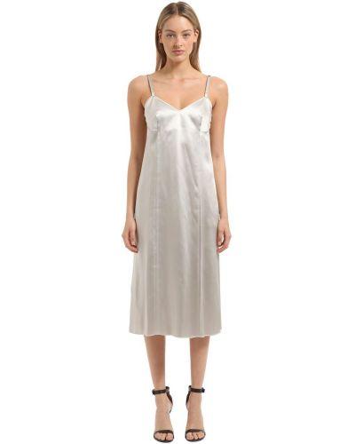 Платье атласное - серебряное Calvin Klein Collection