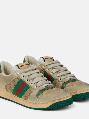 Кожаные кроссовки бежевые Gucci