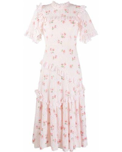Асимметричное розовое платье с вышивкой с воротником Needle & Thread