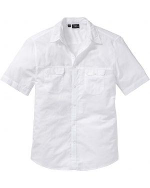 Джинсовая рубашка с короткими рукавами с карманами Bonprix