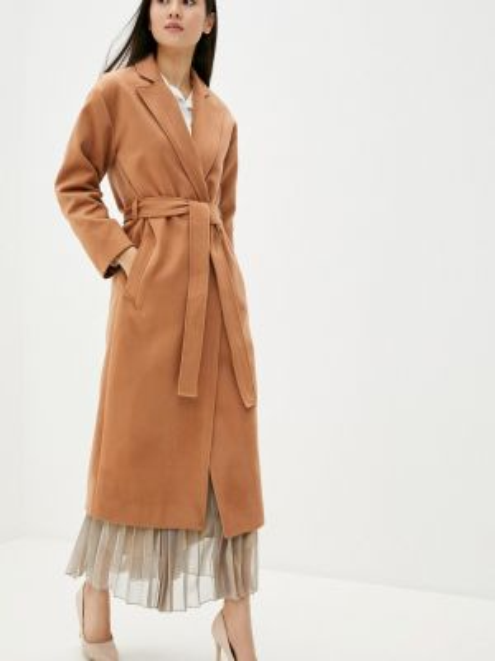 Бежевое пальто с капюшоном Toryz