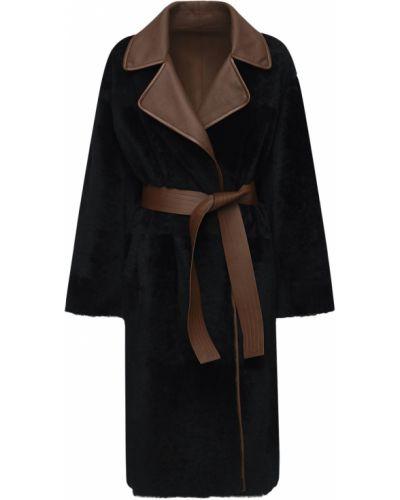 Черное кожаное пальто двустороннее Blancha