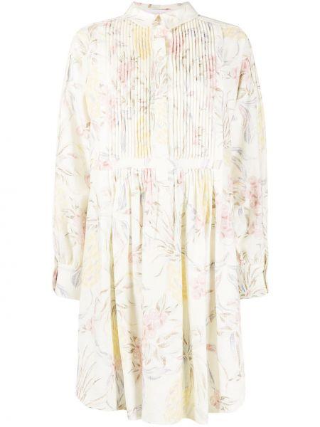 Белое платье макси в цветочный принт с воротником See By Chloé