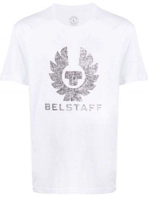Biały bawełna prosto koszula krótkie z krótkim rękawem krótkie rękawy Belstaff