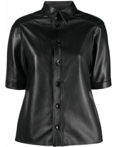 Кожаная черная классическая рубашка с короткими рукавами Manokhi