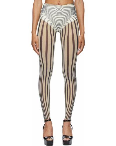 Białe spodnie z siateczką Jean Paul Gaultier