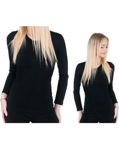 Czarny t-shirt z długimi rękawami bawełniany Darex