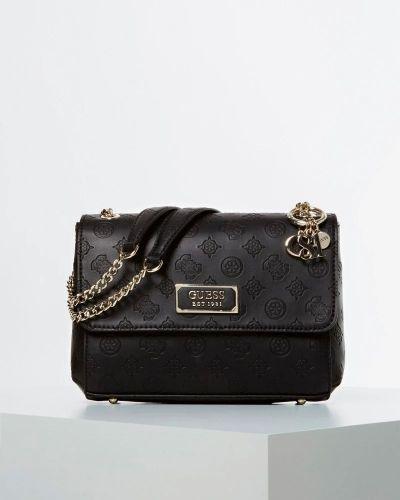 Черная кожаная сумка на молнии Guess