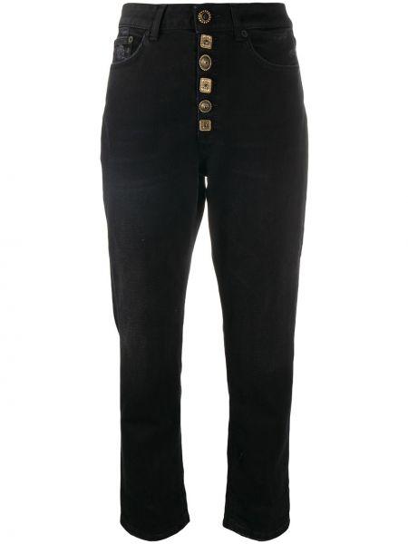 Черные прямые укороченные джинсы на пуговицах Dondup