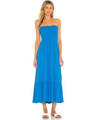 Синее платье миди с декольте 1. State