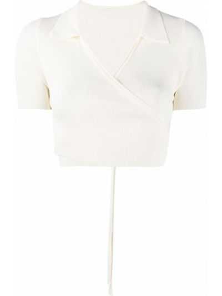 Biały z rękawami koszula z wiskozy Jacquemus