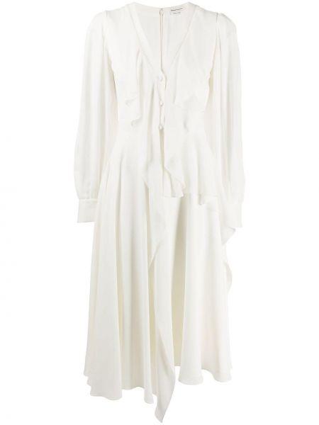 Асимметричное шелковое платье миди на пуговицах с оборками Alexander Mcqueen