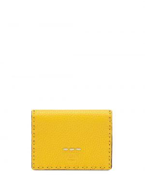Желтый кожаный кошелек круглый Fendi