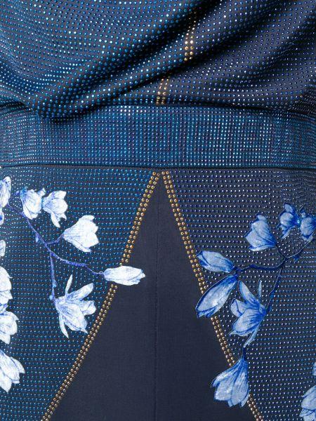 Приталенное синее платье макси без рукавов Versace Collection