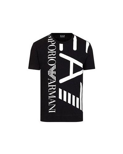 Хлопковая черная футболка Ea7