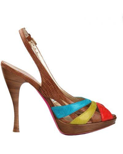 Коричневые босоножки на каблуке Loriblu