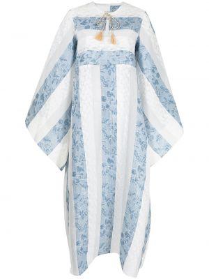 Расклешенное синее платье макси в полоску Bambah