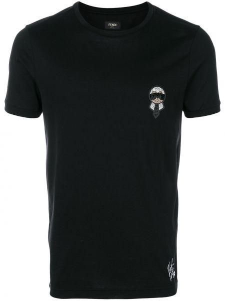 Koszula krótkie z krótkim rękawem skórzany czarna Fendi