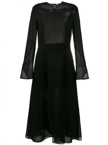Шифоновое черное платье миди Olivier Theyskens