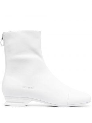Białe ankle boots skorzane płaska podeszwa Raf Simons
