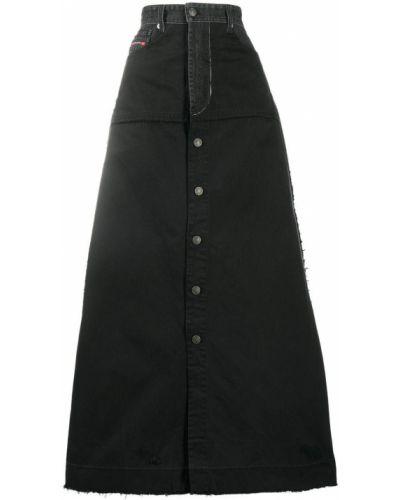 Черная с завышенной талией юбка макси на пуговицах Diesel