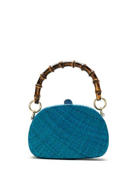 Синяя соломенная сумка Serpui
