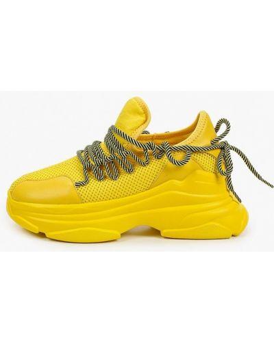 Желтые кожаные кроссовки Covani