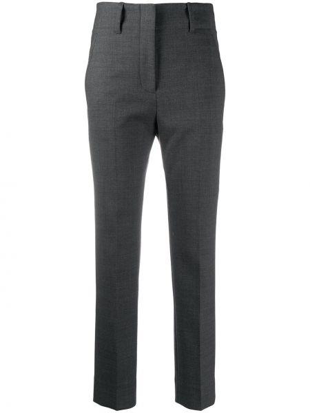 Шерстяные серые укороченные брюки с высокой посадкой с потайной застежкой Incotex