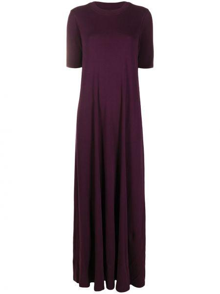 Фиолетовое платье макси с короткими рукавами круглое с круглым вырезом Raquel Allegra