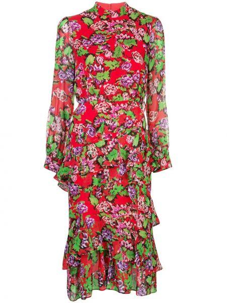 Платье миди с цветочным принтом на молнии Saloni