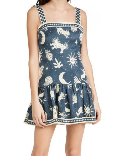 Льняное синее платье с подкладкой Agua Bendita