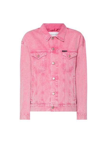 Różowa kurtka jeansowa bawełniana Calvin Klein Jeans
