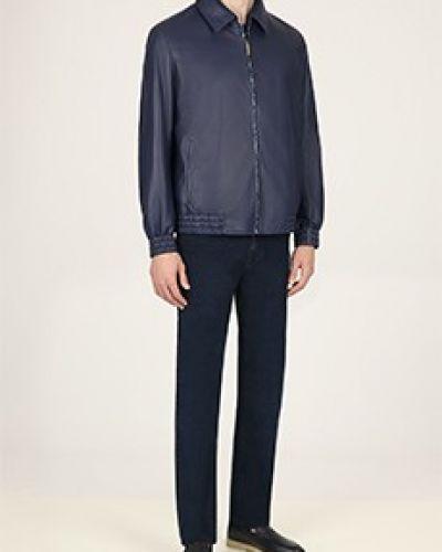 Синяя кожаная куртка Zilli