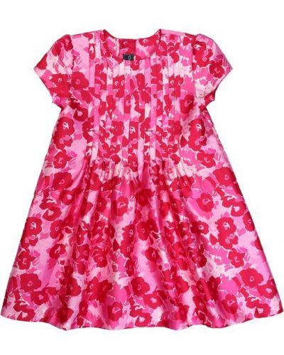 Платье мини розовое с цветочным принтом Oscar De La Renta