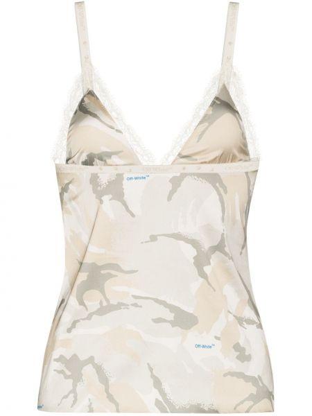 Biały ażurowy top na sznurowadłach Off-white