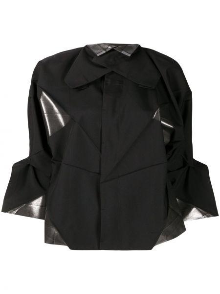 Czarna kurtka asymetryczna z printem 132 5. Issey Miyake
